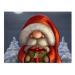 Santa with a gift postcards