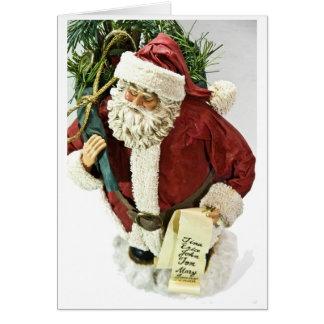 Santa with a List Greeting Card