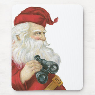 Santa with binoculars mouse pad