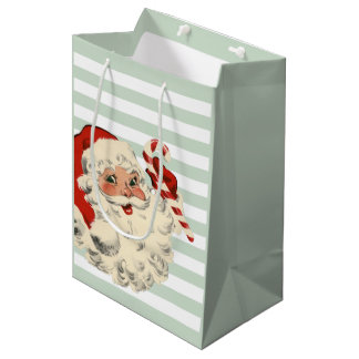 Santa with Candy Cane and Mint Green Stripes Medium Gift Bag