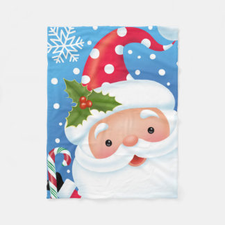 Santa With Candy Cane Portrait Blanket