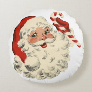Santa With Candy Cane Round Cushion
