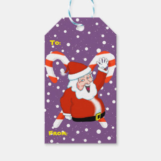 Santa with Candy Canes Christmas Gift Tags