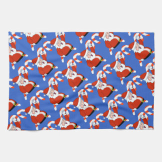 Santa with Candy Canes Christmas Kitchen Towel