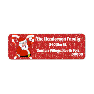 Santa with Candy Canes Return Address Labels