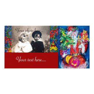 SANTA WITH CHRISTMAS TREE AND GIFTS CUSTOM PHOTO CARD