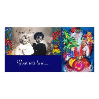 SANTA WITH CHRISTMAS TREE AND GIFTS PHOTO GREETING CARD