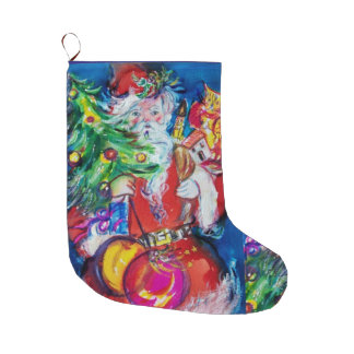 SANTA WITH CHRISTMAS TREE BALLOONS AND GIFTS LARGE CHRISTMAS STOCKING