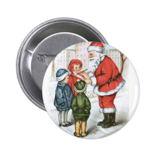 Santa with Christmas Wish List Pinback Button