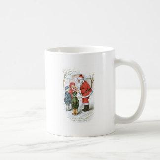 Santa with Christmas Wish List Basic White Mug