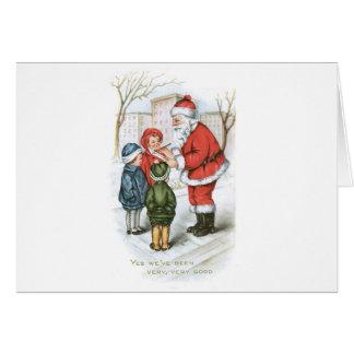 Santa with Christmas Wish List Greeting Card