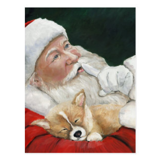 Santa with Corgi Dog Art Christmas Postcard