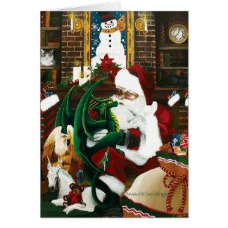 Santa with Dragon Friend Card