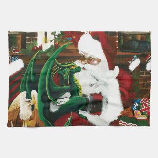 Santa with Dragon Friend Kitchen Towel