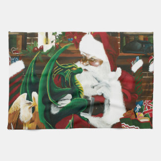 Santa with Dragon Friend Tea Towel