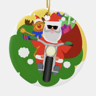 Santa with Goodie Bag Ceramic Ornament