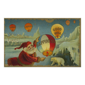Santa With Happiness Baloon Poster