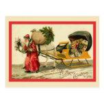 Santa with his cart postcard