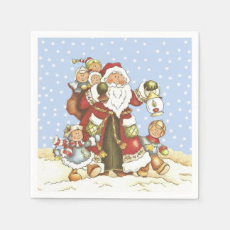 Santa With Lantern Children in Falling snow Disposable Serviette