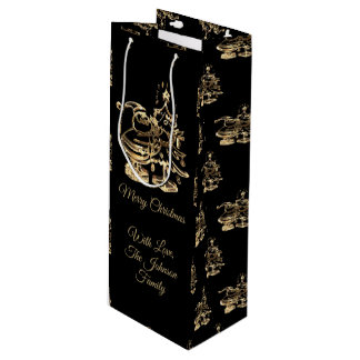 Santa with Merry Christmas Tree Pattern Black Gold Wine Gift Bag