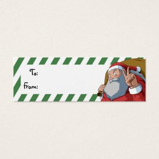 Santa with Peace Sign Christmas Gift Tag Mini Business Card