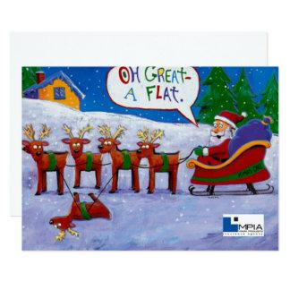 Santa with Reindeer Card 13 Cm X 18 Cm Invitation Card