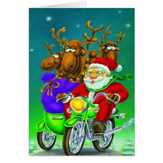 Santa with reindeer on bike card