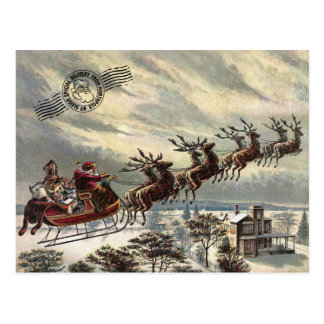 Santa with Sleigh Postcard