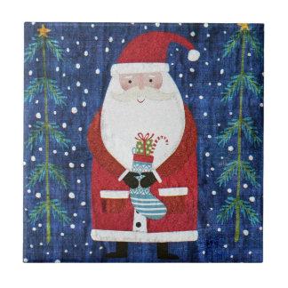 Santa with Stocking Tile
