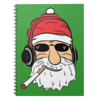 Santa With Sunglasses Cigarette and Headphones Notebooks
