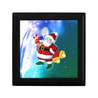 Santa with tennis racquet and bells gift box