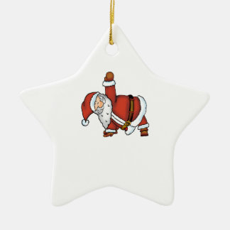 Santa Yoga - Christmas Design with a Yoga Santa Ceramic Star Decoration