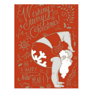 Santa Yoga Christmas Postcard