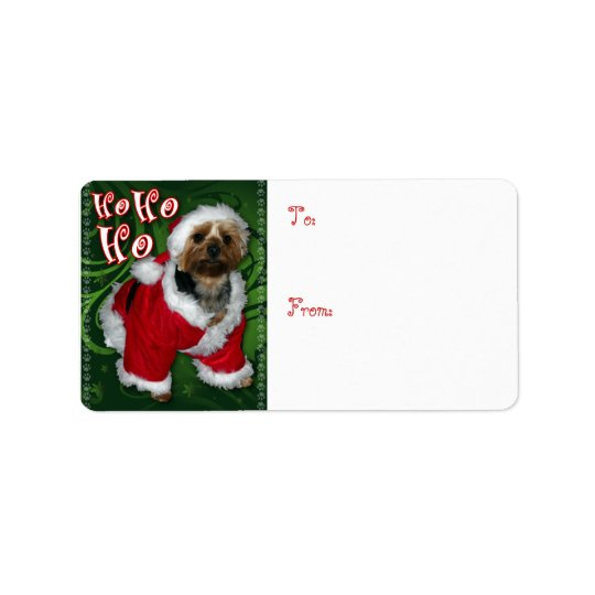 Santa Yorkie Gift Tag Address Label