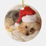 Santa Yorkie Ornament