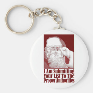 Santa, Your Christmas List, and The Authorities Basic Round Button Key Ring