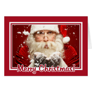 Santa / YOUR PHOTO Christmas Frame greeting card