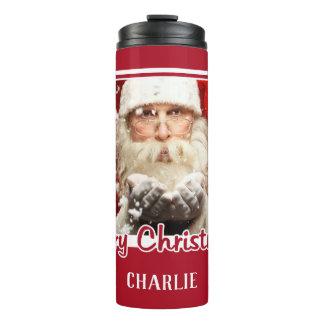 Santa / YOUR PHOTO custom name Christmas tumbler