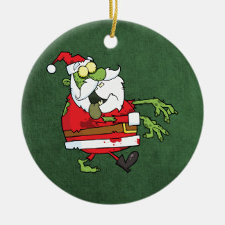 Santa Zombie Round Ceramic Decoration