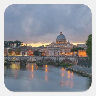 Sant'Angelo bridge Saint Peter Basilica Rome Italy Square Sticker