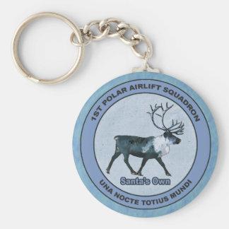 Santa's 1st Polar Airlift Sqdn - Subdued Basic Round Button Key Ring