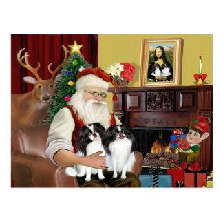 Santa's 2 Japanese Chin Postcard