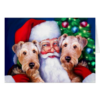 Santa's Airedale Terriers at Christmas Card