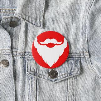 Santas beard graphic red white christmas button