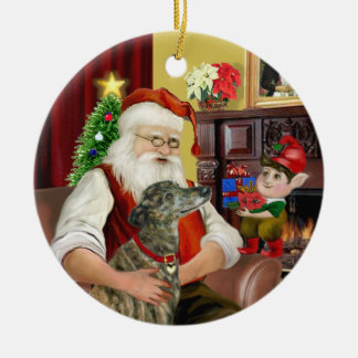 Santa's Brindle Greyhound Ceramic Ornament