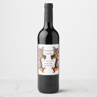 Santa's Busy Elves From Family or Company Wine Label