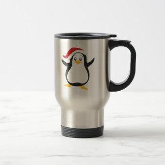 Santa's Christmas Penguin Stainless Steel Travel Mug