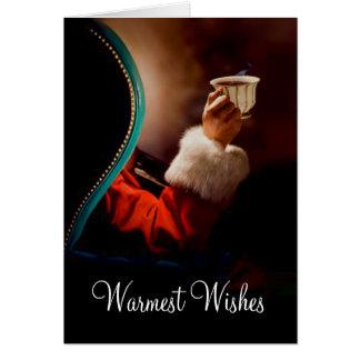 Santa's Coffee Break Vintage Greeting Card