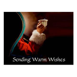 Santa's Coffee Break Vintage Postcard