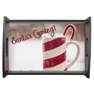 Santa's Coming Holiday Christmas Serving Tray